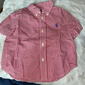 Red Polo Gingham plaid button down